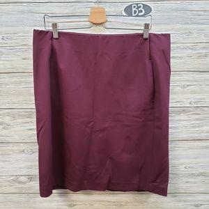 J Jill Maroon Ponte Pencil Skirt With Pockets